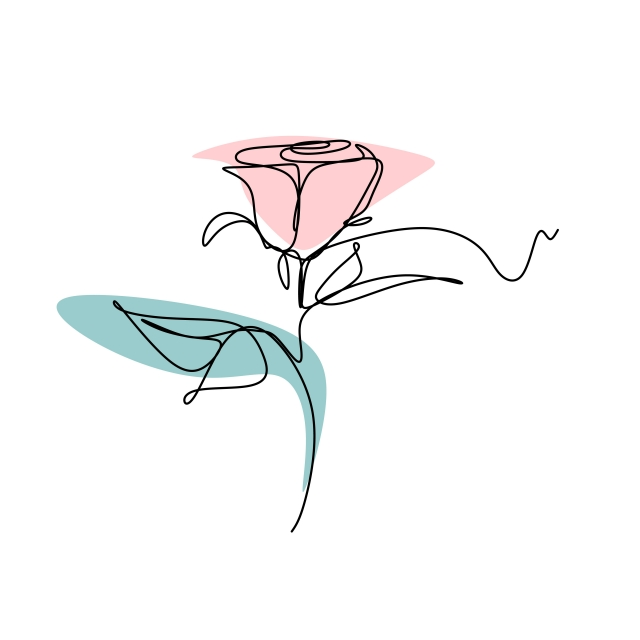 640x640 Continuous Line Drawing Vector Of Rose Flower Romantic Symbol