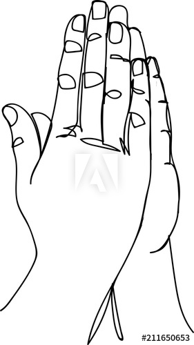 281x500 Continuous Line Art Or One Line Drawing Of Prayer Hand