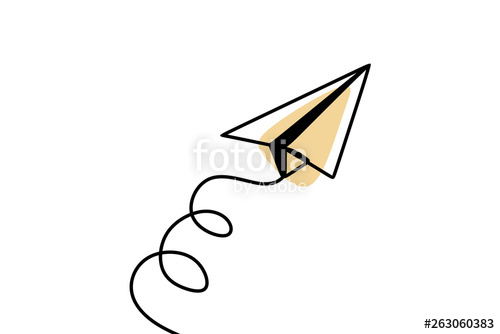 500x334 Continuous Line Drawing Of Paper Plane Craft Minimalism Style