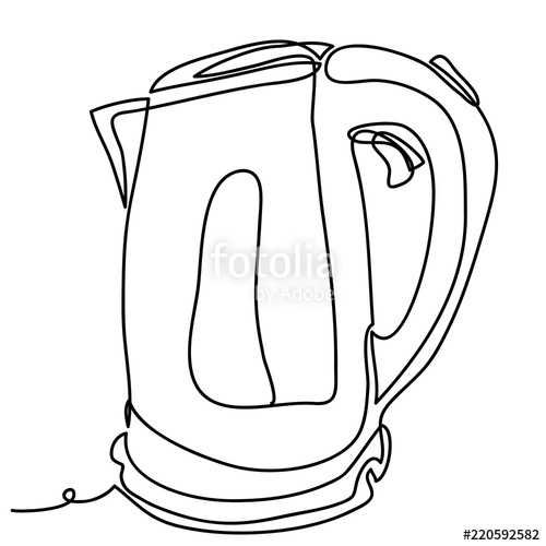 500x500 Electric Stainless Steel Kettle Vector Illustration Isolated