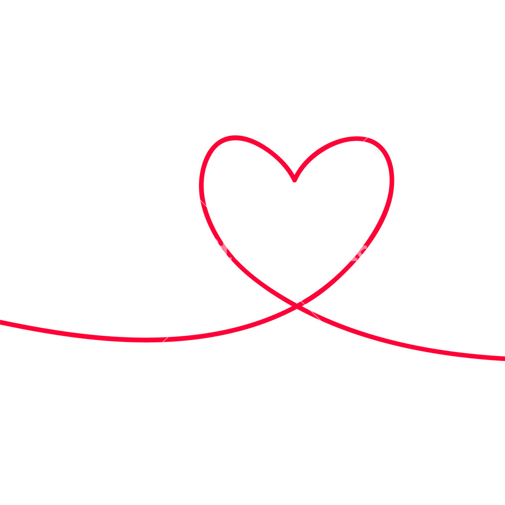 1000x1000 Heart In Continuous Drawing Lines Continuous Black Line The Work