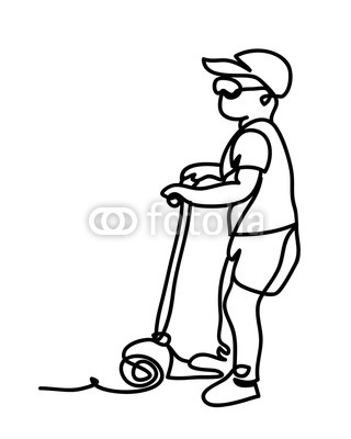 320x400 Little Boy Riding A Scooter Continuous Line Drawing Isolated