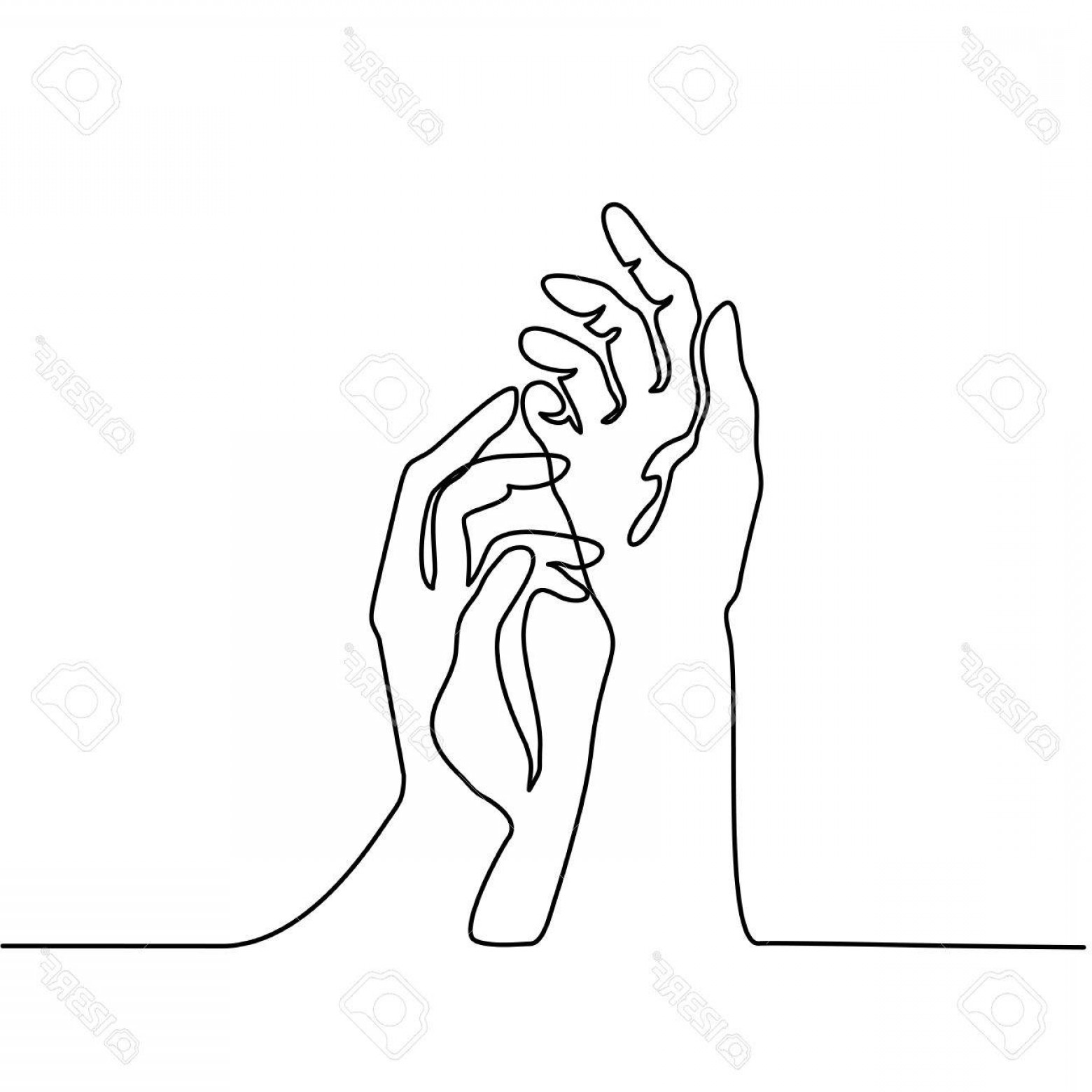 1560x1560 Photostock Vector Continuous Line Drawing Hands Palms Together