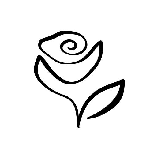 490x490 Rose Flower Concept Logo Cosmetic Continuous Line Hand Drawing
