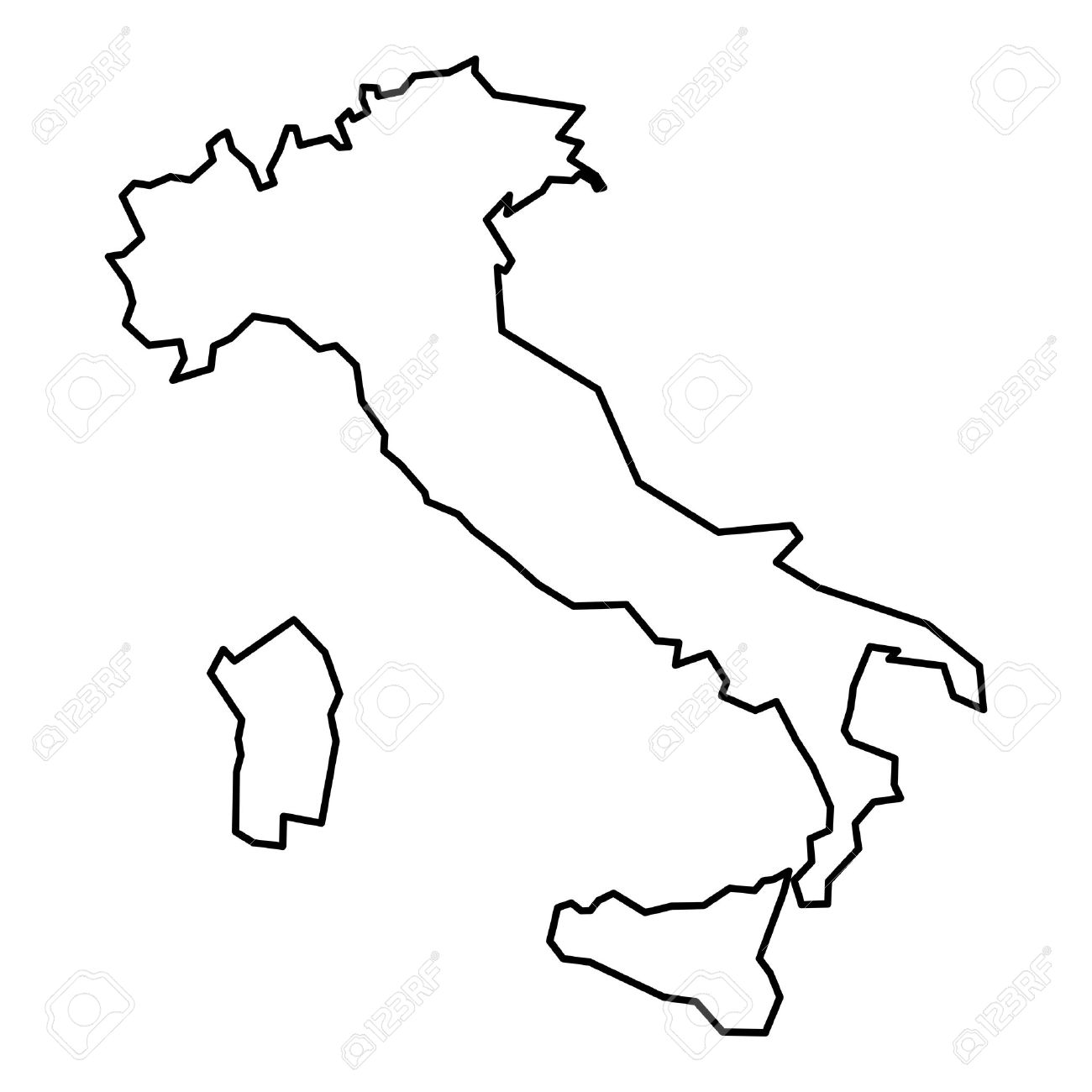 1300x1300 italy outline simple contour map of italy black outline