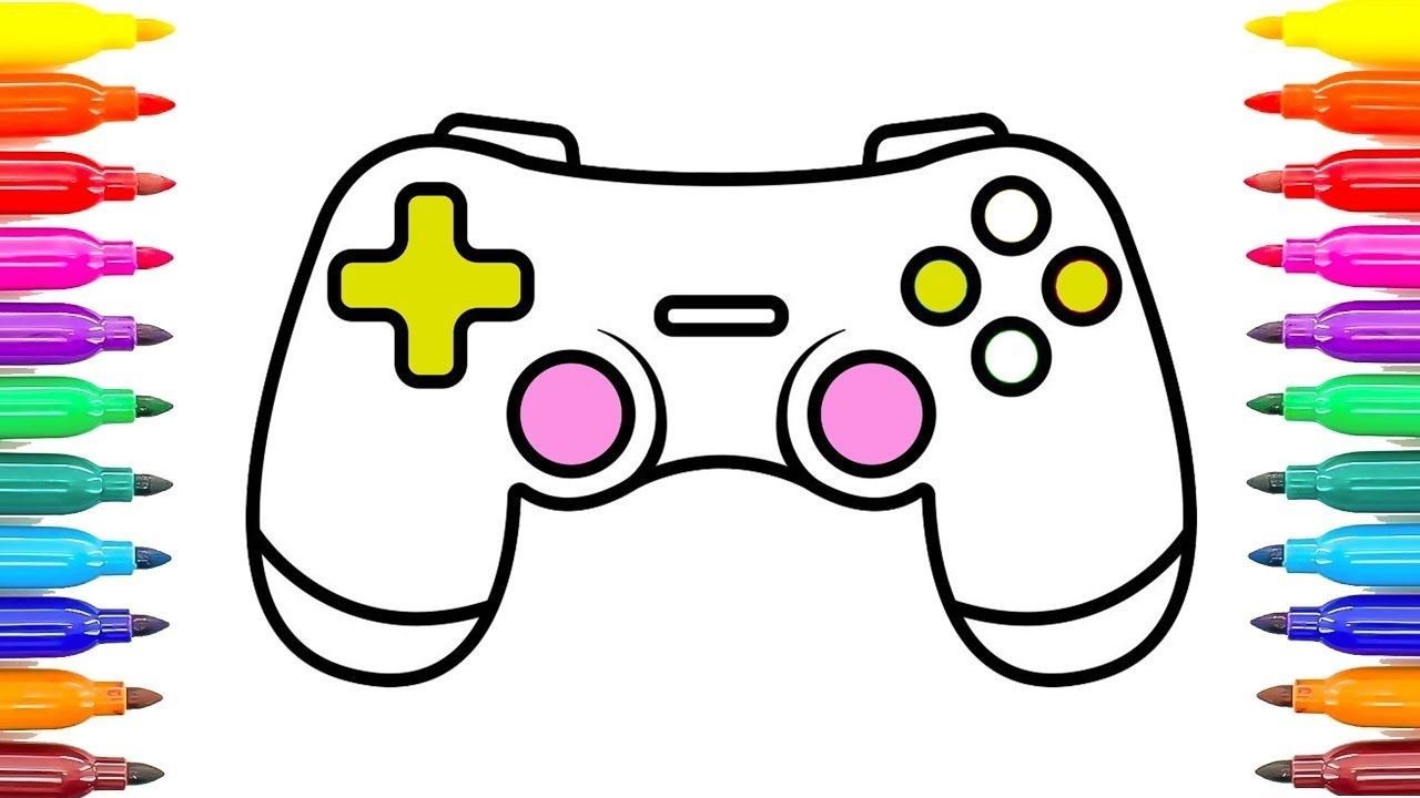 1280x720 gamepad controller coloring pages how to draw game controller