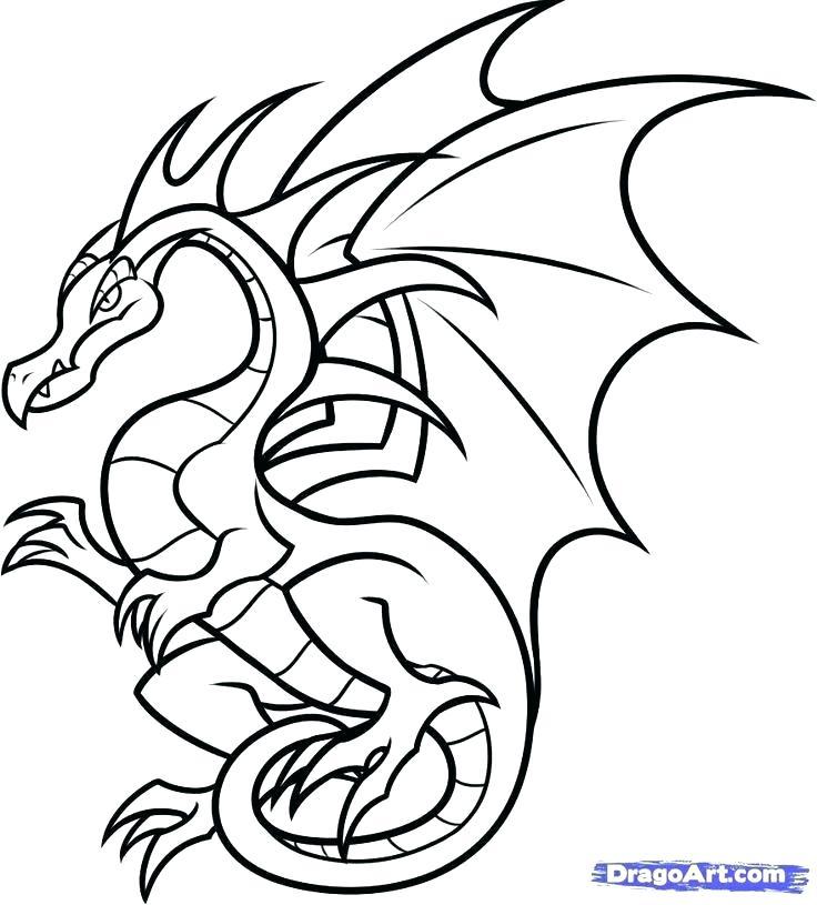 736x815 Dragon Drawing Easy