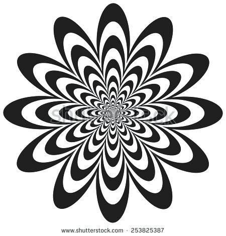 450x470 Design Black And White Easy Op Art Flower Optical Illusion Design