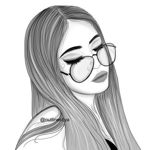 500x500 Tumblr Tumblr Tumblr Girl Drawing, Tumblr Outline, Drawings