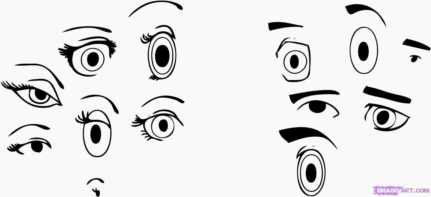 1467x672 How To Draw Cartoon Eyes Easy Cartoon Eyes Mix And Match To Create
