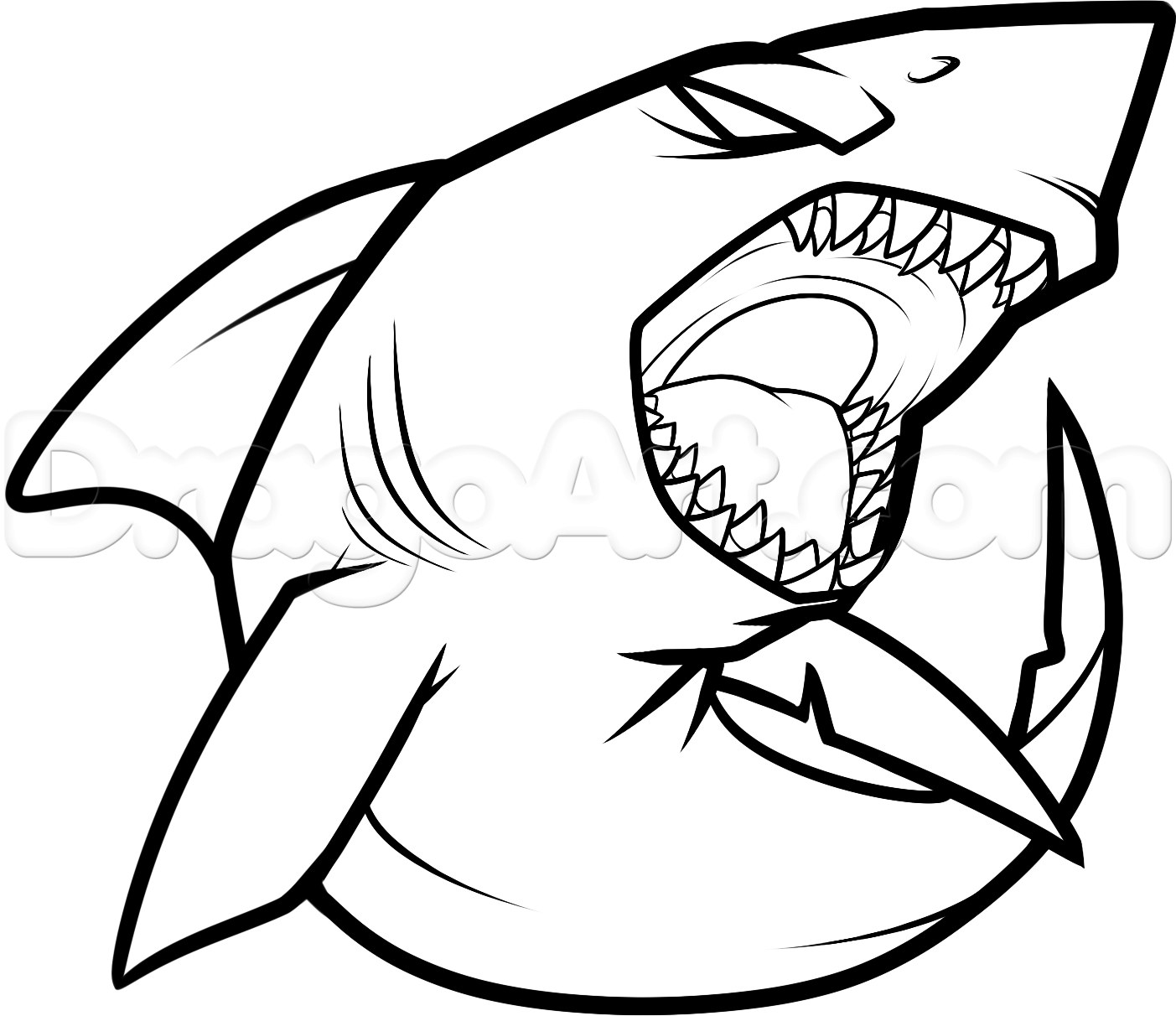 1403x1212 How To Draw A Cool Shark Step Crafty Things Shark Drawing