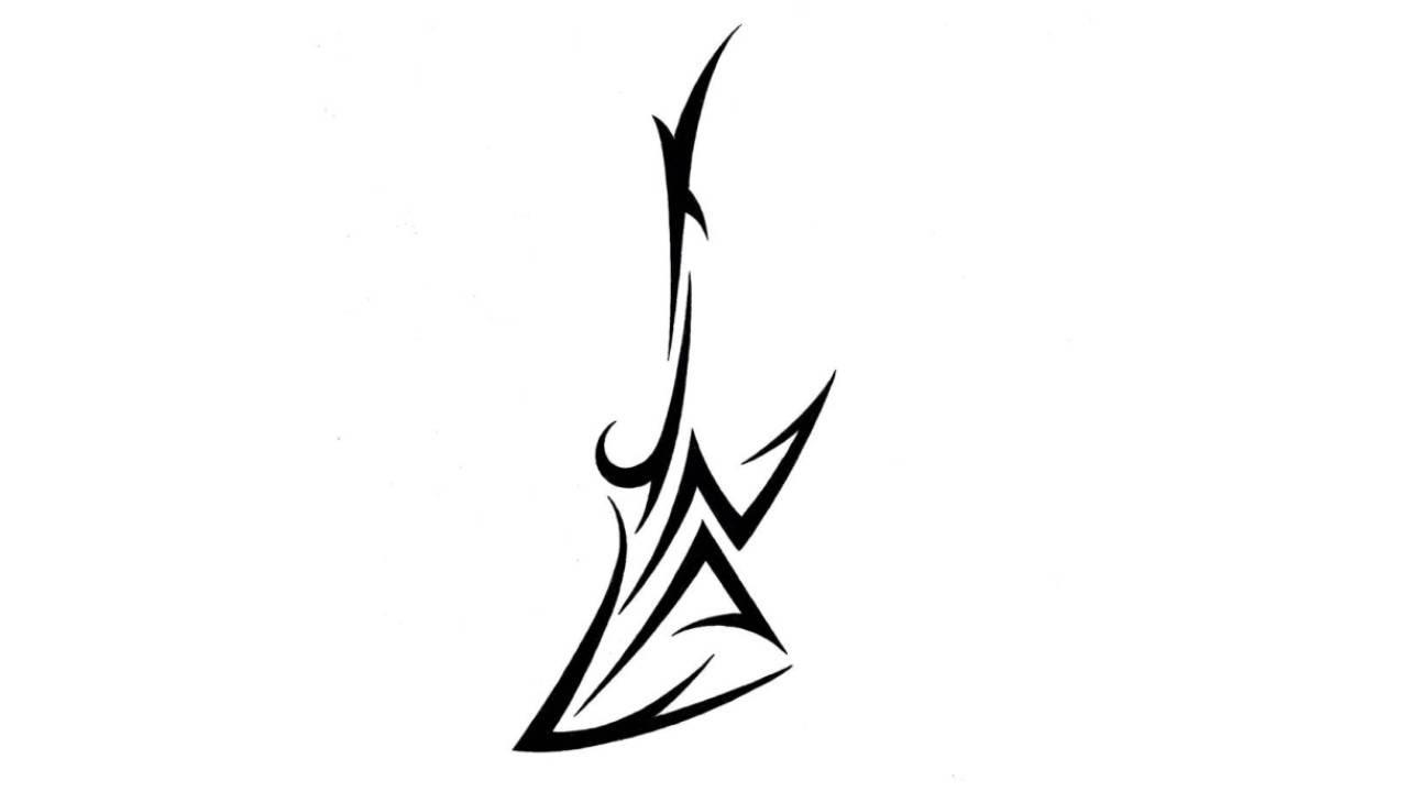 1280x720 Drawing Tribal Electric Guitar