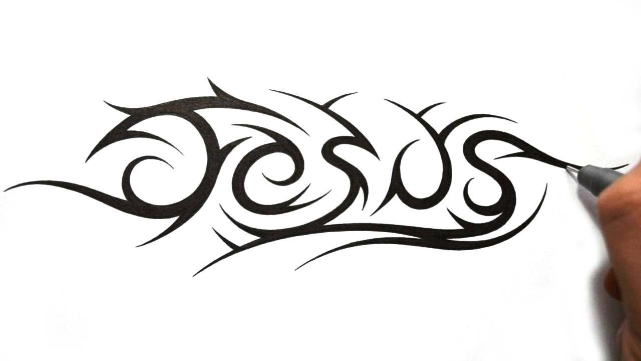 1280x720 How To Draw Jesus In A Tribal Tattoo Design Style