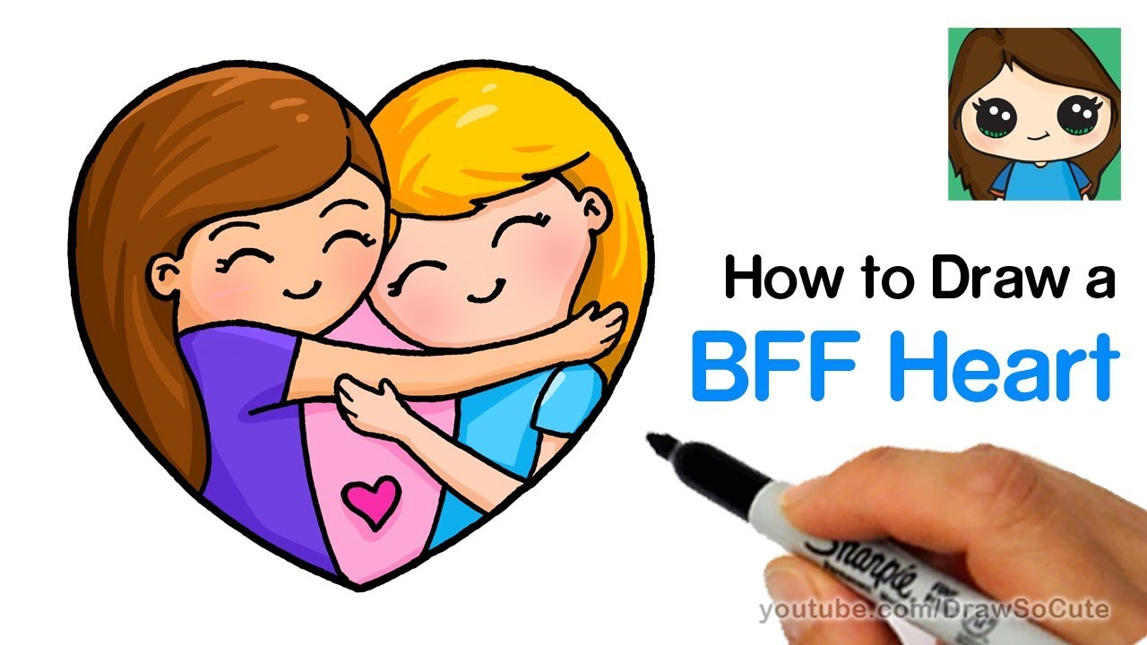 1280x720 How To Draw Best Friends Forever Heart Easy