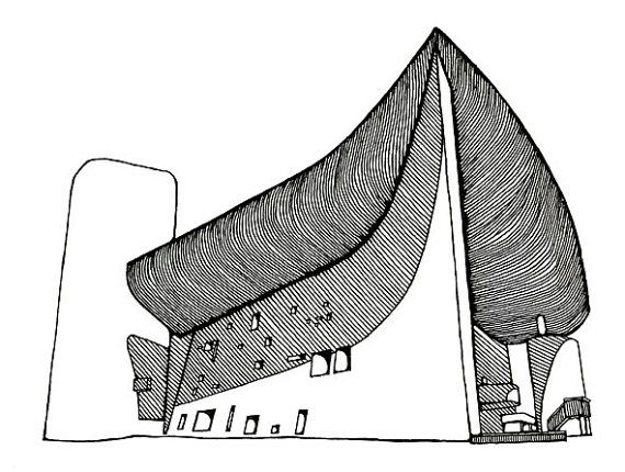570x430 Le Corbusier's Chapel Of Notre Dame Du Haut In Ronchamp Sketch