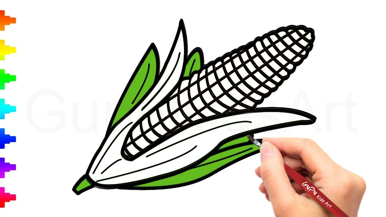 1280x720 How To Draw Corn Drawing And Coloring Pages For Kids Gupu Kids