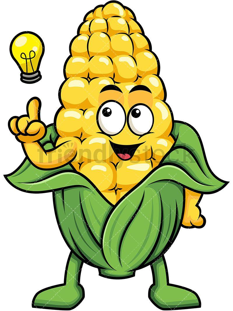 800x1067 Corn Mascot Having An Idea In Clip Arts Cartoon, Cartoon