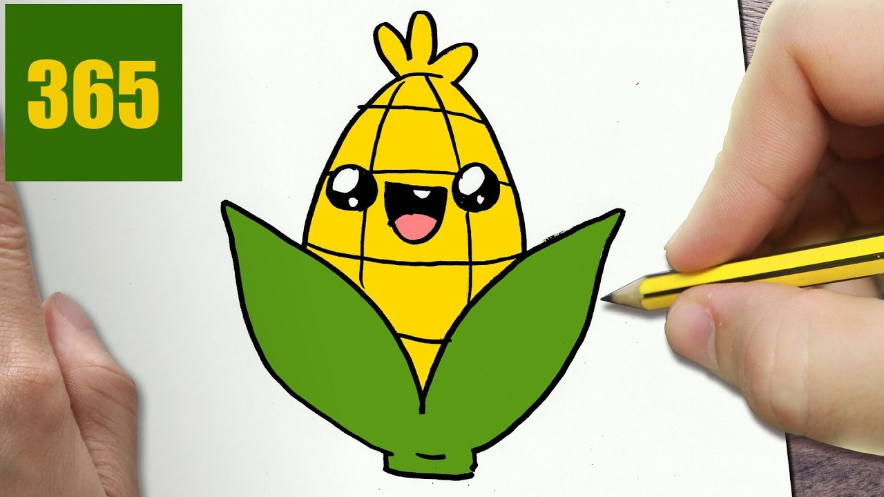 1280x720 How To Draw A Corn Cute, Easy Step