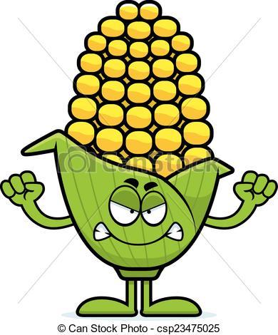 390x470 Angry Cartoon Corn A Cartoon Illustration Of An Ear Of Corn