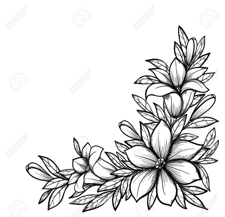 Corner Flower Drawing Free Download Best Corner Flower