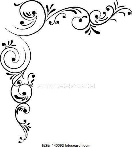 461x520 Element For Design, Corner Flower, Vector Drawing Woodburning