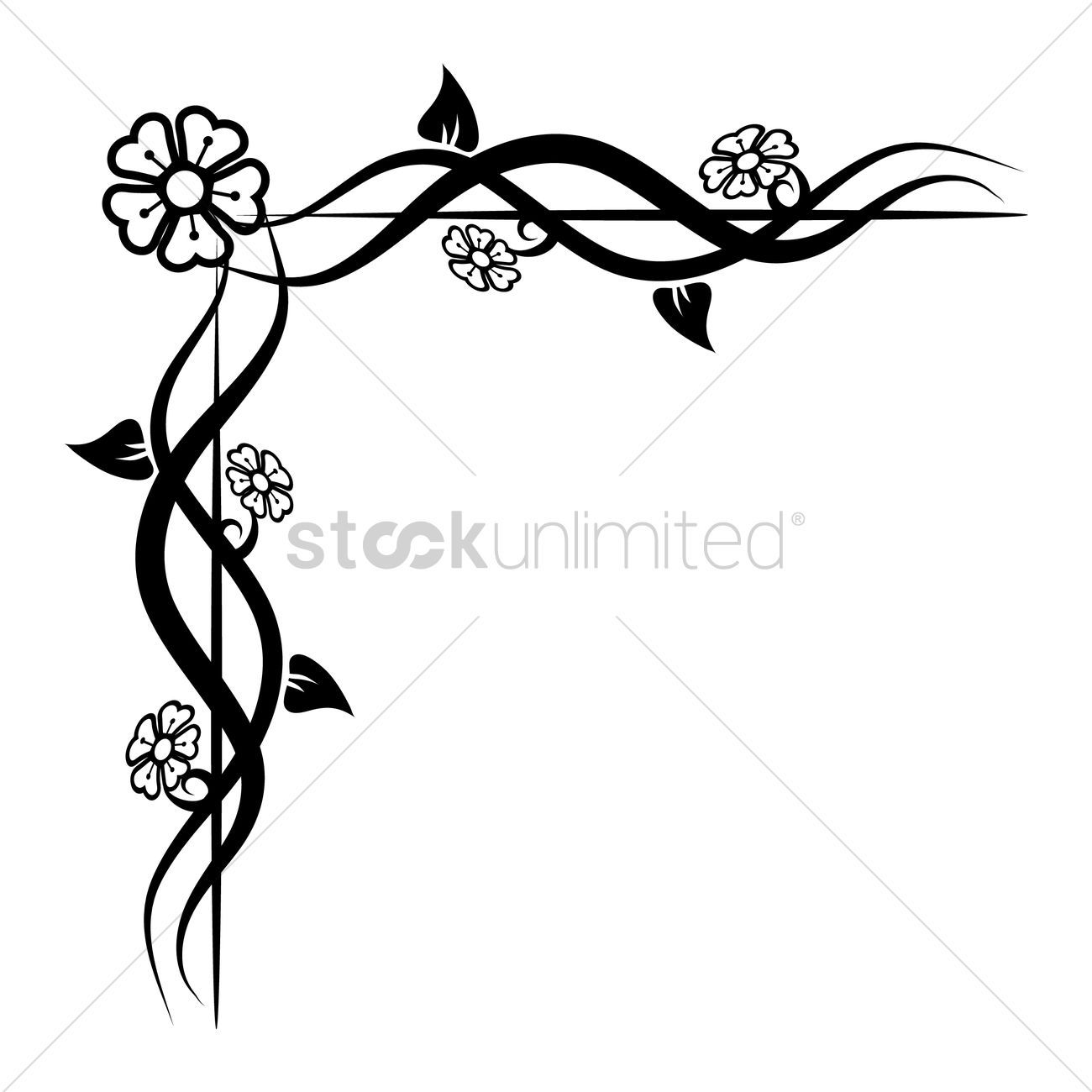 1300x1300 Flower Corner Designs Black And White