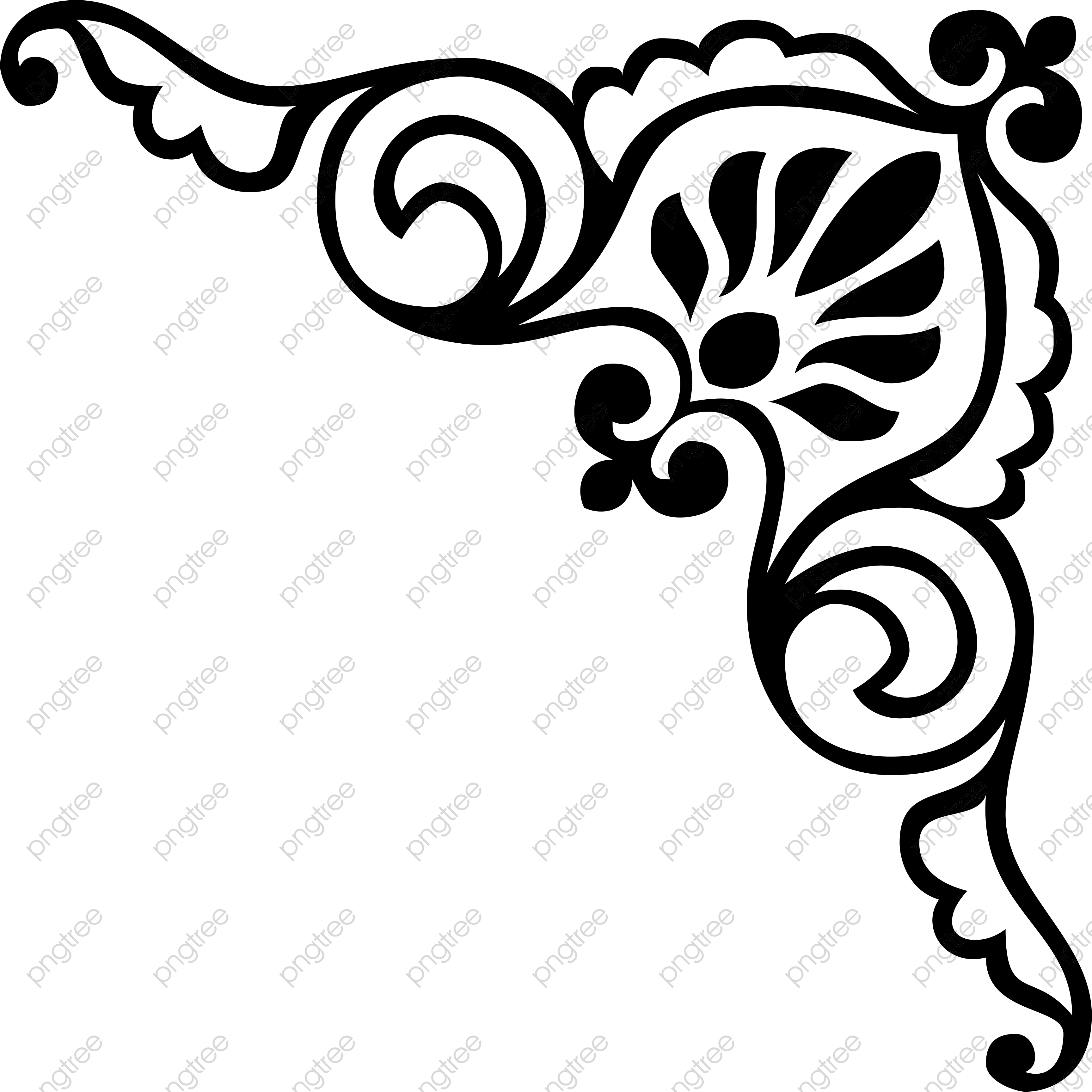 3454x3454 Transparent Traditional Corner Flower Lace Material Shading Png