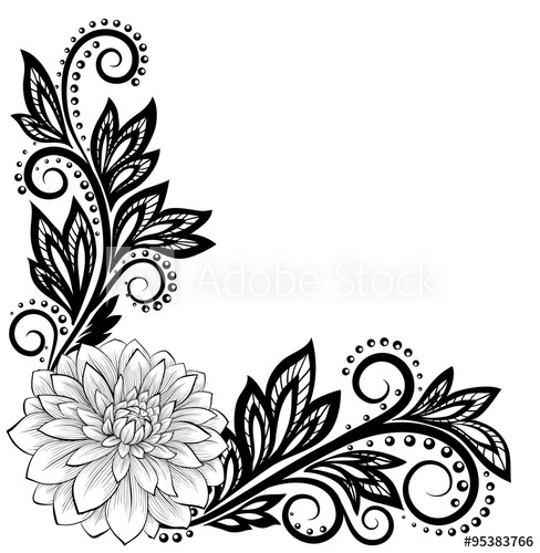 488x500 Monochrome Black And White Lace Flower In The Corner With Space
