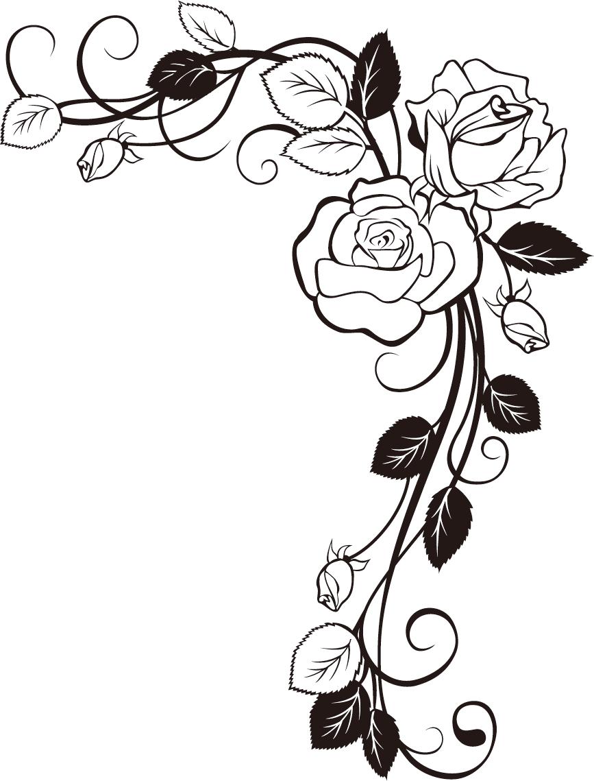 867x1139 Rose Border Drawing
