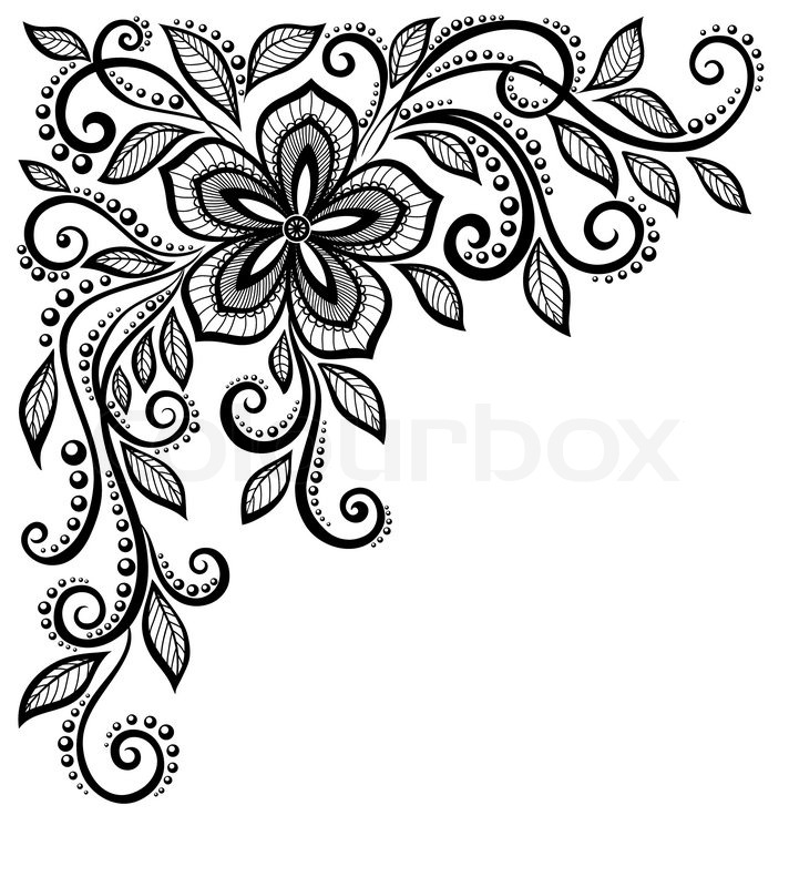 712x800 Beautiful Black And White Lace Flower Stock Vector Colourbox