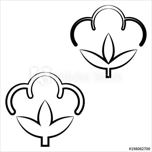 500x500 cotton flower icon, cotton ball, cotton fiber