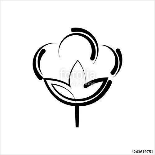 500x500 cotton flower icon, cotton ball, cotton fiber stock image