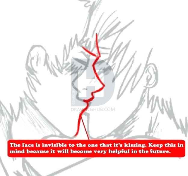 625x586 Drawing Of Two People Kissing