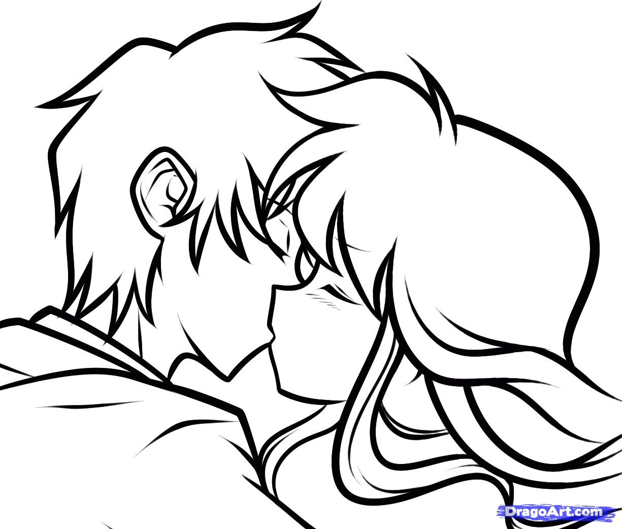 1225x1041 Anime Couple Kissing Drawing Couples Coloring Pages Arts