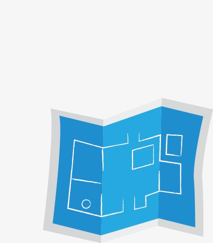 426x486 blue architectural drawings, blue, fold, drawing png image