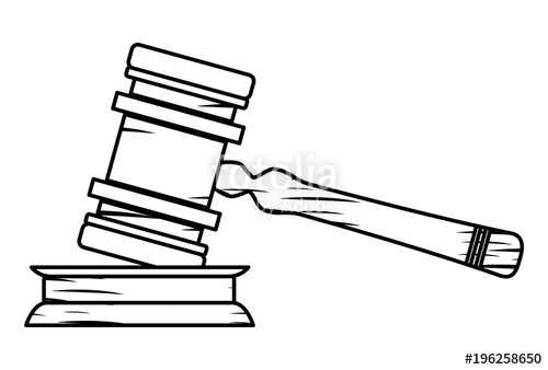 500x338 Sketch Of Law Hammer Icon Over White Background, Vector
