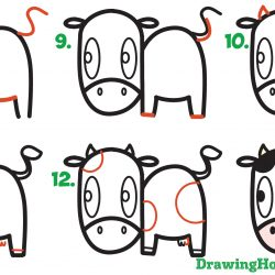 250x250 Cartoon Cow Face Drawing Milk Head Style Vector Outline