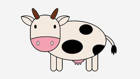 454x255 Simple Cow Drawing