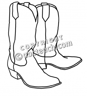 300x332 Free Cowboy Boot Outline Clip Art Western Theme Cowboy Boots B
