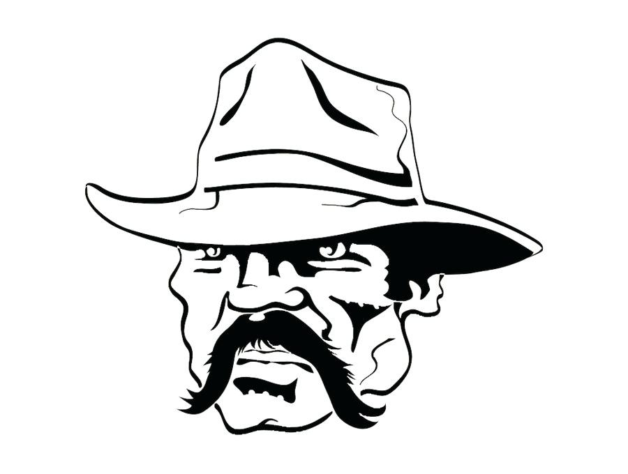 900x680 Cowboy Line Drawing