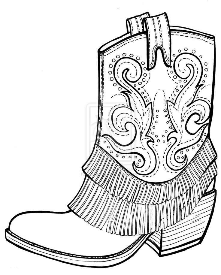 736x916 Color Sketch Cowboy Boot Clipart Collection