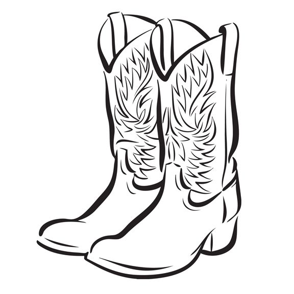 Cowboy Boots And Hat Drawing