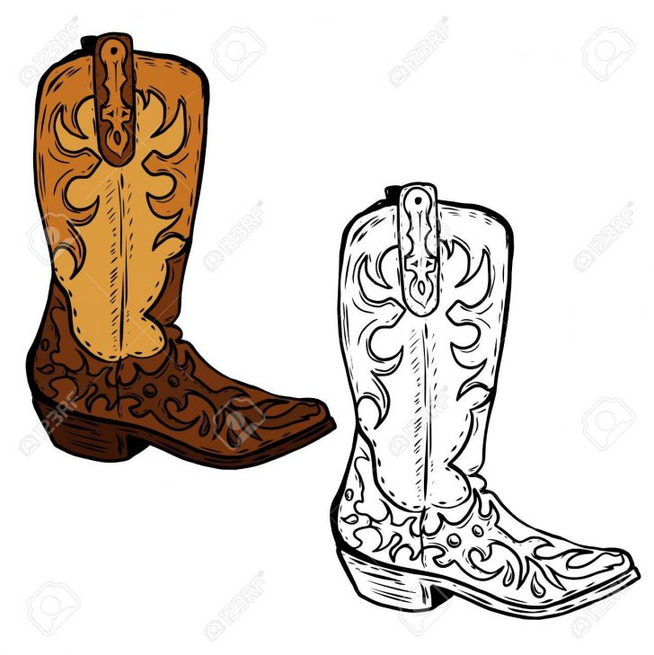 728x729 Cowboy Boots Drawing Line Easy Step