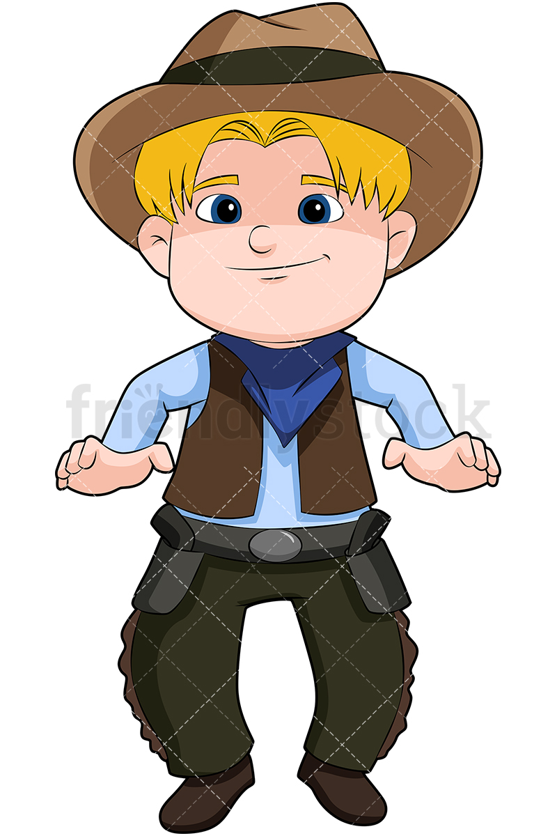 800x1200 Blond Child Cowboy Cartoon Vector Clipart