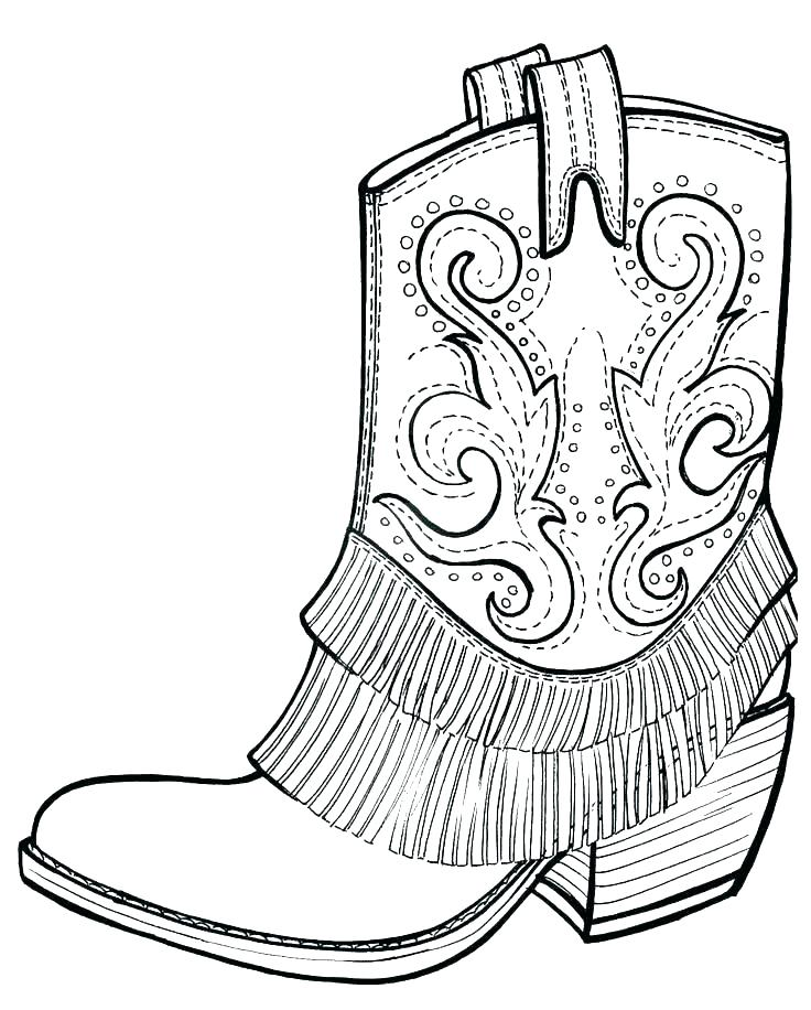 736x916 Cowboy Boot Colouring