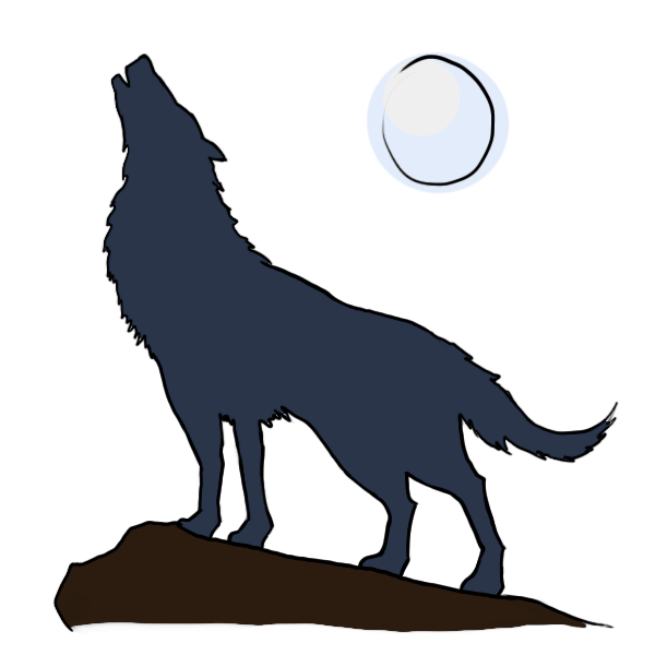 600x600 Collection Of Free Coyote Drawing Moon Download On Ui Ex
