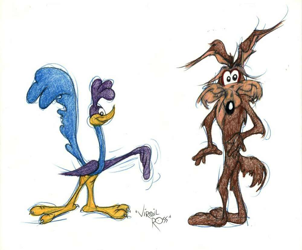 1000x828 Wile Coyote + Road Runner Colored Drawing, Drawn Signed