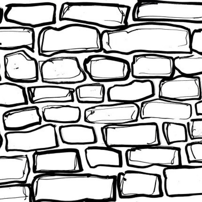 680x680 brick wall drawing art, wall clipart brick wallpaper pencil