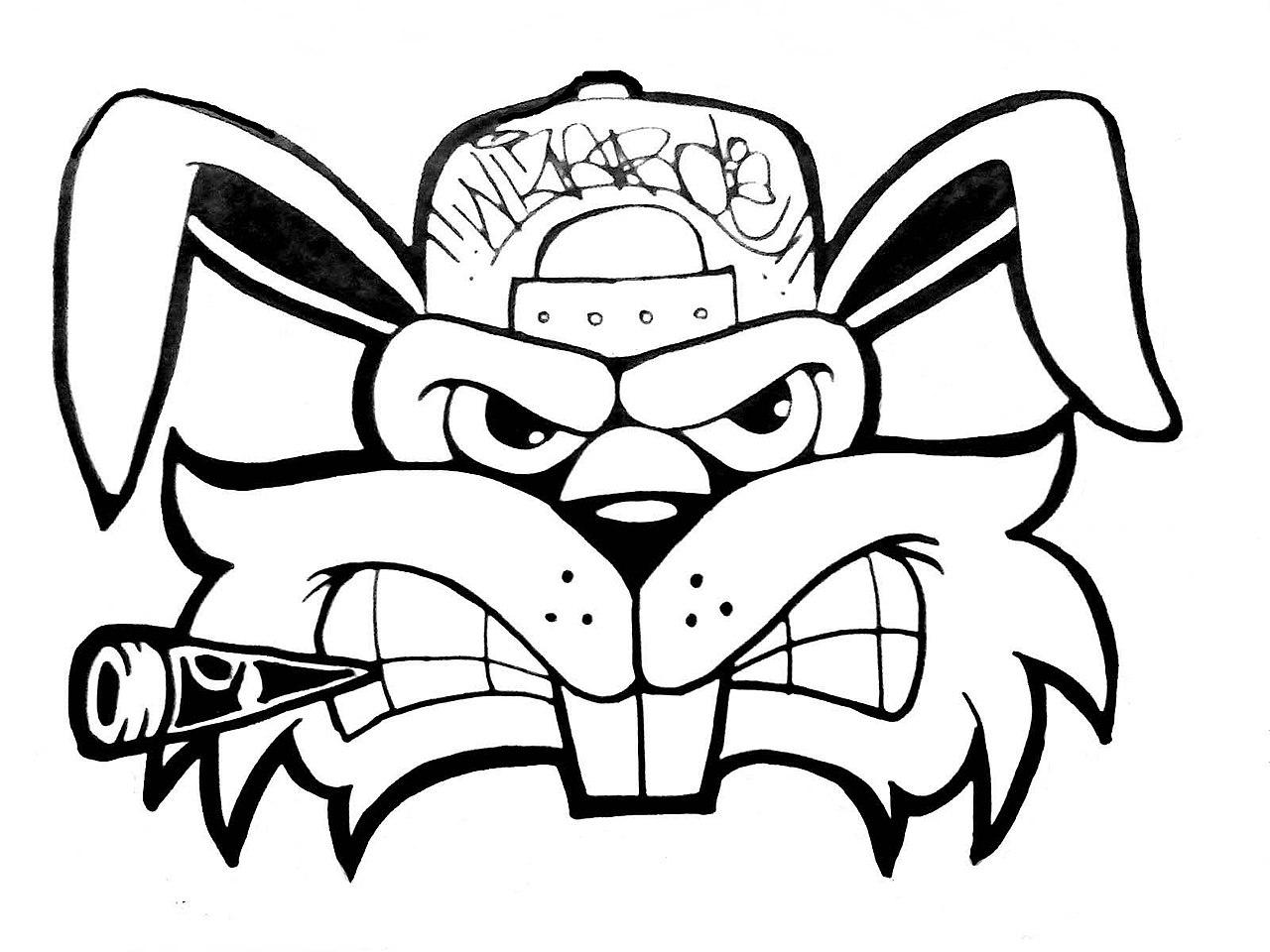 1280x960 Filemonster Rabbit Graffiti How To Draw A Crazy Rabbit Graffiti