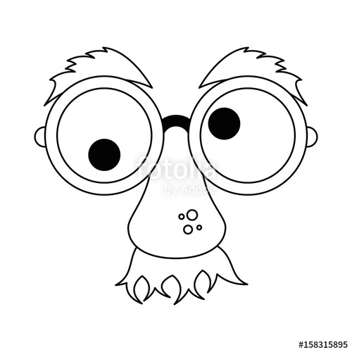 500x500 Comic Face With Big Nose And Crazy Eyes Icon Over White Background